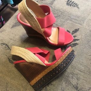 Just Fab Coral & Brown Wedges